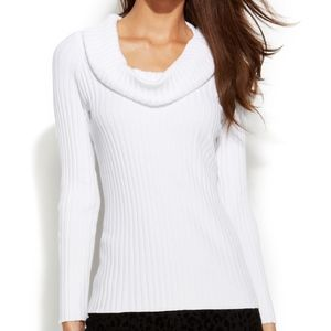 NWOT  INC White Ribbed Cowl Neck Knit Sweater Top